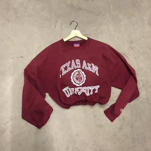 Texas a&m drawstring crop sweatshirt